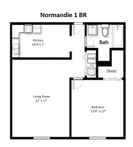 One Bedroom Standard Style – First Floor (#03)