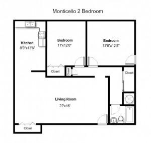 Two Bedroom Standard Style – Ground Floor (#01)