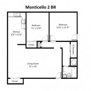 Two Bedroom Deluxe Style – Second Floor (#13)